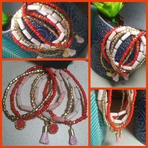"""Set of 6  Beaded Stretch Bracelet""""s (NWT)"""